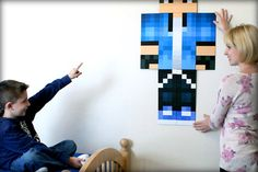 If your kids are obsessed with Minecraft as ours are, we found the most amazing gift in this custom skin wall art based on your child's own character.