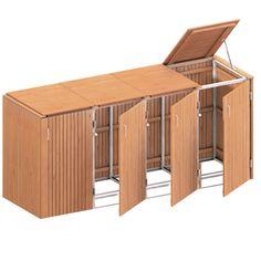 Binto Mülltonnenbox für 4 Behälter, Hartholz | BENZ24