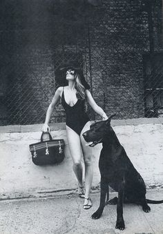 Beautiful picture of Cindy Crawford and her Great Dane.