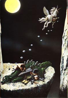 the woodland folk dragonland book. Illustration by Antonio Lupatelli Wolf Illustration, Beautiful Fantasy Art, Vintage Children's Books, Fantastic Beasts, Faeries, Illustrators, Woodland, Art Drawings, Folk