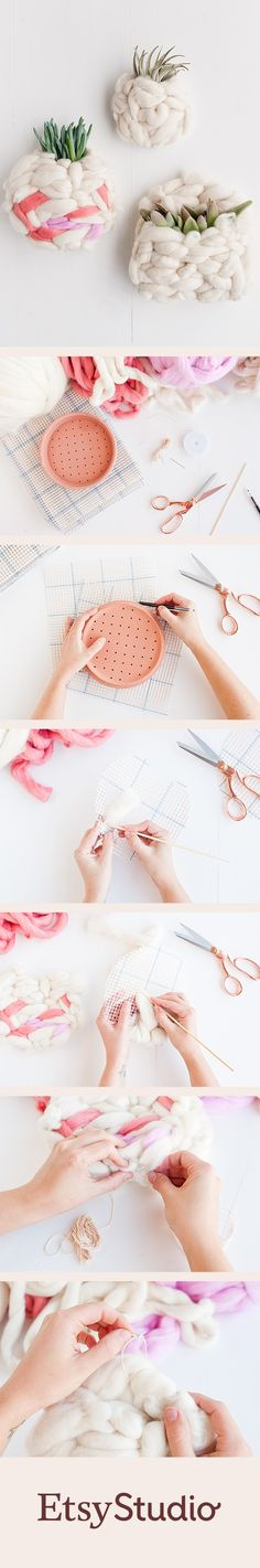Add some texture to your walls with these unique woven wall pockets. DIY project by Brittni Mehlhoff of Paper & Stitch Diy Vide Poche, Diy And Crafts, Crafts For Kids, Diy Inspiration, Wall Pockets, Crochet, Diy Home Decor, Art Projects, Weaving