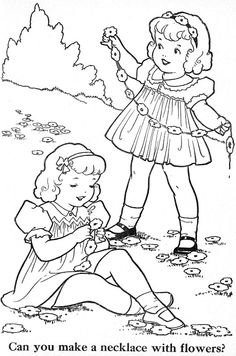 vintage coloring pages of children - photo#18