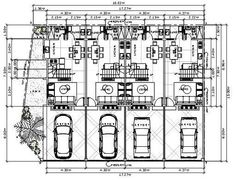 4 Unit Townhouses w/ End Unit - House Designer and Builder Townhouse Designs, Duplex House Design, Construction Contract, Garage Dimensions, House Map, Architecture Plan, Hotels And Resorts, House Plans, Floor Plans