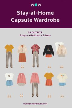 This Wonder Wardrobe consists of 9 tops, 4 bottoms, and 1 dress resulting in over 36 possible outfits. Style: Casual style with creative elements. Colour type: Warm Bright Light. (Spring) Body proportions: Any. Method: Wonder Wardrobe.