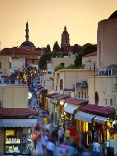Evening Shopping in Rhodes Town Rhodes Greece