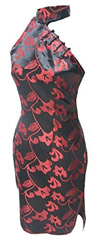 9d9ec731fba 7Fairy Women s Black Red Halter Floral Mini Chinese Dress Cheongsam - 8 Chinese  Dress Cheongsam