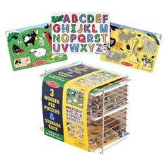 Melissa & Doug® Puzzle Rack with 3 Peg Puzzles