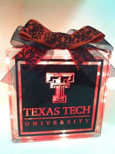 Texas Tech Lighted Block with Ribbon