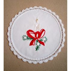Hand-embroidered Christmas doily with holiday candle Christmas Embroidery Patterns, Hand Embroidery Patterns, Christmas Patterns, Bordado Popular, Embroidered Christmas Stockings, Vintage Pillow Cases, Christmas Ornament Sets, Christmas Gifts, Hungarian Embroidery