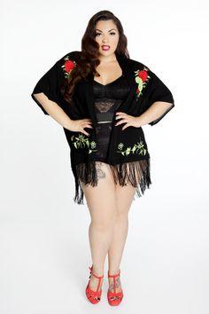 Domino Dollhouse - Plus Size Clothing: Fringe Roses Kimono