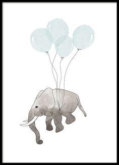Mooie posters met kleine olifant die met blauwe ballonnen vliegt. Een ontzettend schattige poster met illustratie die perfect is voor de kinderkamer. Bekijk meer mooie prints en posters voor de kinderkamer bij de categorie Kinderen & jongeren. www.desenio.nl