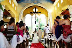 Riviera Maya Wedding at Grand Palladium Kantenah, the Nuestra Señora de las Nieves church, stunning ceremony.  Mexico wedding photographers Del Sol Photography.