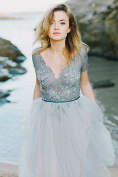 Celebrity Inspired Beach Wedding dress Evening Prom Gown TCD7155