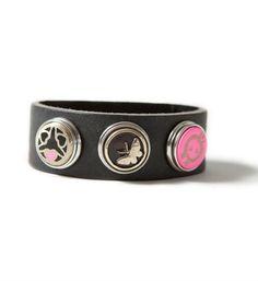 Noosa Amsterdam leren armband, bracelet classic skinny. Op een armband kunnen 3 chunks worden bevestigd naar eigen creativiteit - Antique Black - NummerZestien.eu