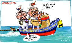 Scott Morrison reads towing manual with Howard instructor refugees asylum seekers cartoon 2013-07-09