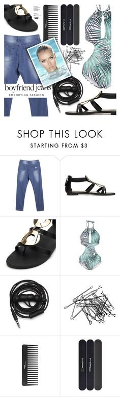"""Borrowed from the Boys: Boyfriend Jeans"" by eclectic-chic ❤ liked on Polyvore featuring Urbanears, H&M, Sephora Collection, MAC Cosmetics, boyfriendjeans, gladiatorsandals, summeressentials, onepieceswimsuit and yoins"