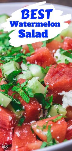 Mediterranean Watermelon Salad Looking for a super tasty and quick summer salad? This Mediterranean watermelon salad with cucumber, feta and fresh herbs is it! Whether for the of July or your next dinner or picnic, this salad will do the trick! Gourmet Recipes, Vegetarian Recipes, Cooking Recipes, Healthy Recipes, Quick Recipes, Appetizer Recipes, Appetizers, Snacks Sains, Watermelon Recipes