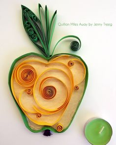 Project8: Passionate Fruits #quilling #art #quillingart #artist #jennytreeg #madebyme  #handmade #paper #colors #fruit #gift #present #green #apple