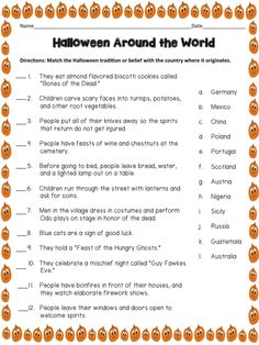 Halloween Around the World. Match the tradition with the country. Simple research assignment. Would be fun trivia game for class Halloween party! From More Than a Worksheet Halloween Facts, Halloween Party Games, Halloween Activities, Holiday Activities, Holidays Halloween, Halloween Kids, Halloween Decorations, Youth Activities, Halloween Celebration