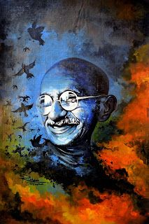 Mahatma Gandhi Portrait by Rajesh Nakar, JUST MADE FOR DESIGN - INDIA, Visual Merchandiser, Interior Designer, Artist Painting Walls Tips, Light Painting, India Painting, Interior Paint Colors, Interior Painting, Gray Interior, Pics Art, Painting Techniques, Designs To Draw