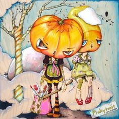 Pumpkin Head Baker and Candy Corn Trick or by pinkytoast on Etsy, $14.00
