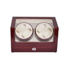 Watch Winder ,LT Wooden Automatic Rotation 4+0 Watch Winder Storage Case Display Box (rose red-white)