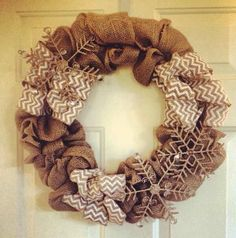 Burlap wreath DIY. Love the snowflakes