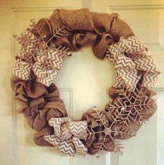 Burlap wreath DIY. Love the snowflakes