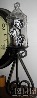 apothecary jars & damask balls