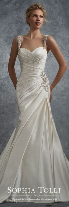 Satin fit and flare wedding dress with beaded straps – Sophia Tolli Sophia Tolli Fall 2017 Wedding Gown Collection – Style No. Aludra – sleeveless satin fit and flare wedding dress with crystal encrusted straps Fit And Flare Wedding Dress, Dream Wedding Dresses, Bridal Dresses, Satin Wedding Dresses, Diamond Wedding Dress, Drop Waist Wedding Dress, Satin Mermaid Wedding Dress, Lace Mermaid, Mermaid Dresses