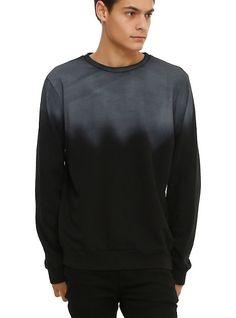 RUDE Black & Grey Ombre Crew Pullover, BLACK. XS mens