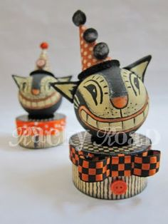 Step-by-step tutorial for making a retro Halloween Cat box. The cat head would look awesome in a hanging cone, too. junk: Tutorial: Vintage-look Halloween Cat Trinket Box Retro Halloween, Spooky Halloween, Holidays Halloween, Happy Halloween, Halloween Decorations, Halloween Stuff, Halloween Ideas, Halloween Pumpkins, Vintage Decorations