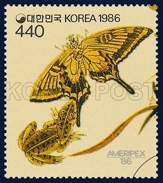 Postage Stamps Commemorative of Partioipation in AMERIPEX `86, Butterfly, Insect, Yellow, black, 1986 05 22, AMERIPEX 86 참가기념, 1986년05월22일, 1429, 군접도(민화), postage 우표