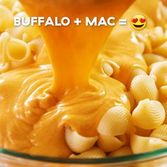 There's a TON going on in this recipe—ranch dressing, buffalo sauce, cheddar, Monterey Jack, AND bac Buffalo Mac N Cheese Recipe, Buffalo Recipe, Macaroni Cheese Recipes, Pasta Cheese, Cheese Bread, Cheddar Cheese Sauce, Cheese Food, Baked Cheese, Tasty Videos