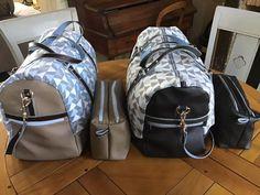 2 sacs weekend Boston et trousses Zip-Zip coordonnées cousus par Faitdamour - Patrons Sacôtin