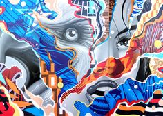 """Incredible paintings by LA-based artist Tristan Eaton.  """"One look at Eaton's work and you can immediately see a collage of influences, and he has always sought to represent this visual language that he loves in a single piece.""""  His work can be seen in galleries around the world and in the permanent collection of the New York Museum of Modern Art (MOMA).  More art on the grid via Hi-Fructose"""