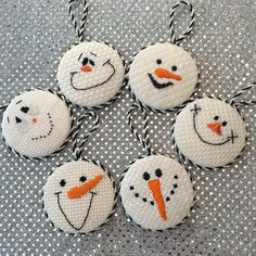 Finishing fun, loved finishing these cute snowmen faces. Models for online class at Needlepoint.Com