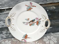 Vintage Hand Painted Plate with Blue Bird