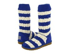 UGG Australia 5822 Classic Stripe BLUE CREAM Cable Knit Tall Boots