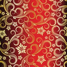 "QT /""CHRISTMAS BELLS/"" #23832-R METALLIC SCROLL VINES RED FABRIC PRICED @ 1//2 YD"