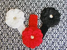 baby bows...set of 3... flower head bands...great infant hair bow flowers... for newborn, toddler and big girls. $17.99, via Etsy.