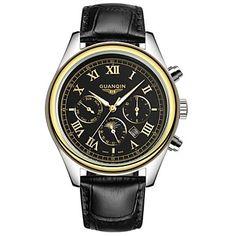 GUANQIN® Top Grade Sport Men Japanese Quartz Waterproof Sapphire Calendar Luminous Moon Phase Leather 38mm Wrist Watch Cool Watch With Watch Box 4985622 2017 – $39.99