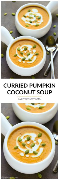 Pumpkin Soup with Coconut Milk Curried Pumpkin Coconut Soup - A luxurious, subtly-spiced soup that is gluten-free, dairy-free, vegan, paleo and ready to eat in just 20 minutes! Easy Soup Recipes, Healthy Recipes, Pumpkin Recipes, Vegetarian Recipes, Cooking Recipes, Vegan Soups, Lunch Recipes, Free Recipes, Cooking Food