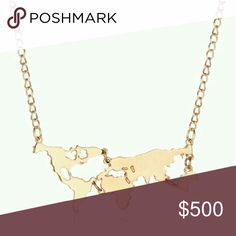 "JUST IN! World Map Gold Necklace Brand new with tags! Stunning gold metal fashion necklace with a silhouette of a world map. Perfect gift for the holidays!  Includes a cute gift box at no extra charge!  Pendant Width: 3"" Chain Length: 16""-18"" Material: Gold-plated metal alloy WILA Jewelry Necklaces"