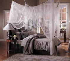 grau farben bettwäsche kissen gardinen luftig himmelbett weiß