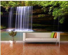 Luscious Green Waterfall Repositionable Wall Mural. Custom Removable Wall Paper, Murals & Decals. https://www.etsy.com/listing/204523196/luscious-green-waterfall-repositionable?ref=shop_home_active_3 #wallpaper #homedecor #interiordesign