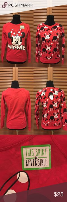 NWT Rue 21 Minnie mouse shirt S reversible Brand-new with tags! Long sleeve reversible Minnie mouse top from Rue 21. Size small. 60% cotton 40% polyester. Bundle two or more items from my closet and save! Rue 21 Tops Tees - Long Sleeve