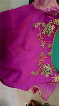 Zari and Thread Work Embroidered Boat Neck Blouse