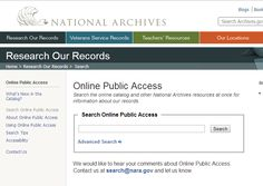 Search the National Archives for images, documents, videos, and more.