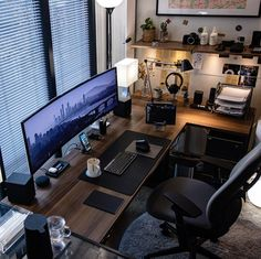 We've compiled the best office desk setup ideas, ergonomic desk setups, and gaming setup for you, featuring the best ergonomic chair for short person with back pain! All images were sourced. Workspace Design, Office Interior Design, Office Interiors, Bureau Design, Computer Desk Setup, Gaming Room Setup, Gaming Rooms, Computer Gaming Room, Best Gaming Setup